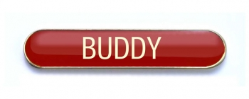 Tube Badge 'BUDDY' Red (Pk. 5)