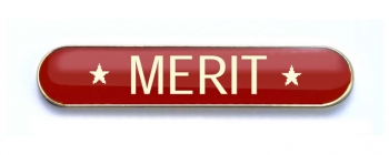 Tube Enamel Badge 'MERIT' Red (Pk. 5)