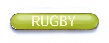 Tube Badge 'RUGBY' Yellow (Pk. 5)