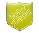 Shield Badge 'DEPUTY HEAD GIRL' Yellow (Pk. 5)