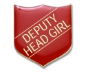 Shield Badge 'DEPUTY HEAD GIRL' Red (Pk. 5)