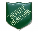 Shield Badge 'DEPUTY HEAD GIRL' Green (Pk. 5)